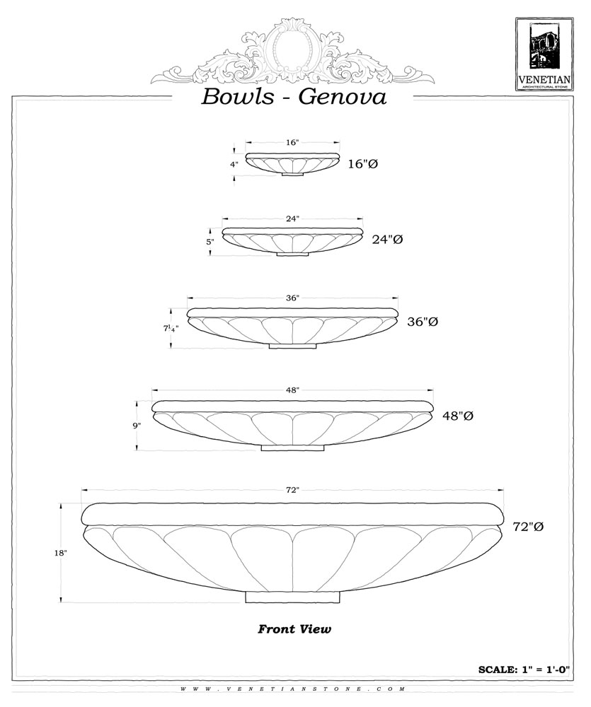 Bowls Genova Venetian Architectural Stone