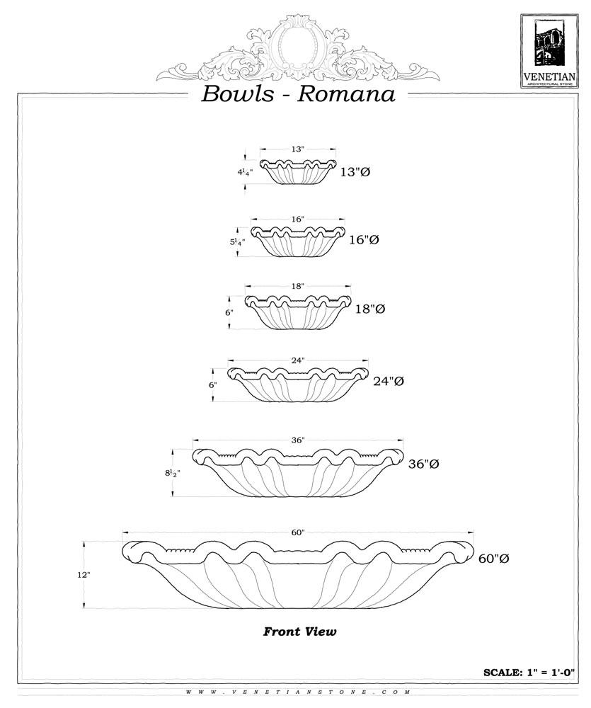 Bowls Romana Venetian Architectural Stone