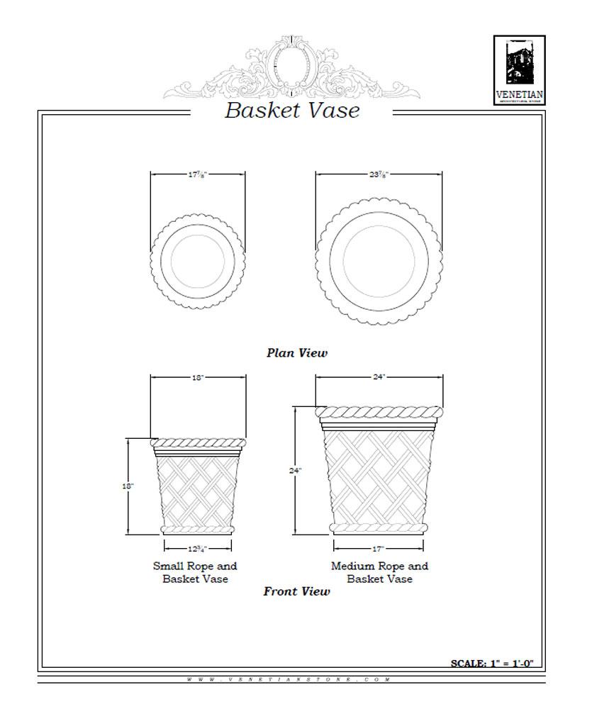 Basket Vase Venetian Architectural Stone
