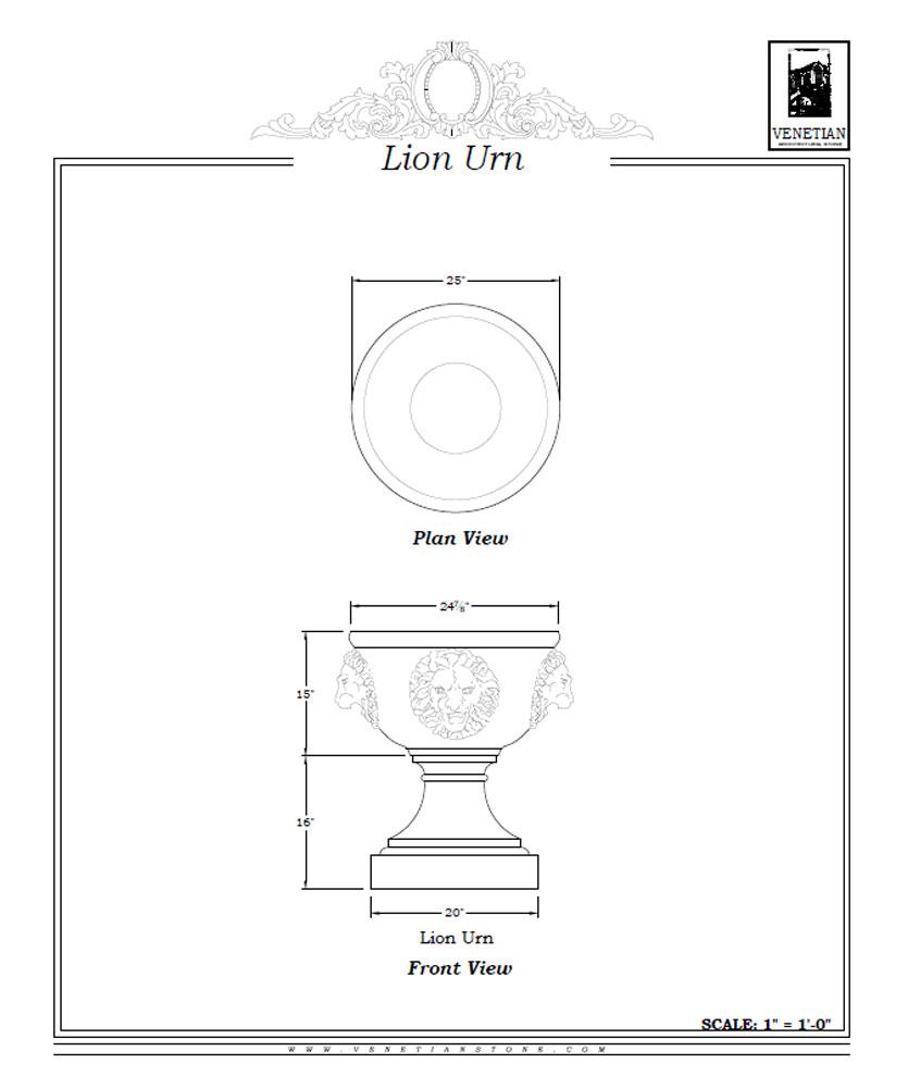 Lion Urn Venetian Architectural Stone