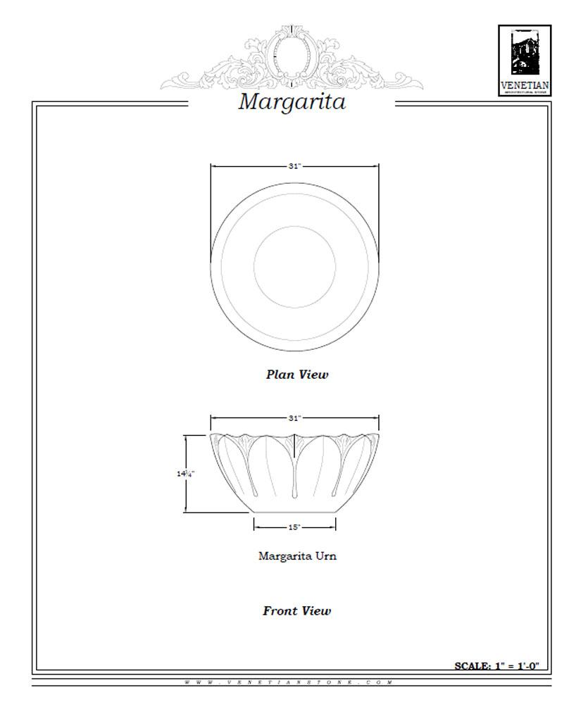 Margarita Urn Planter Venetian Architectural Stone